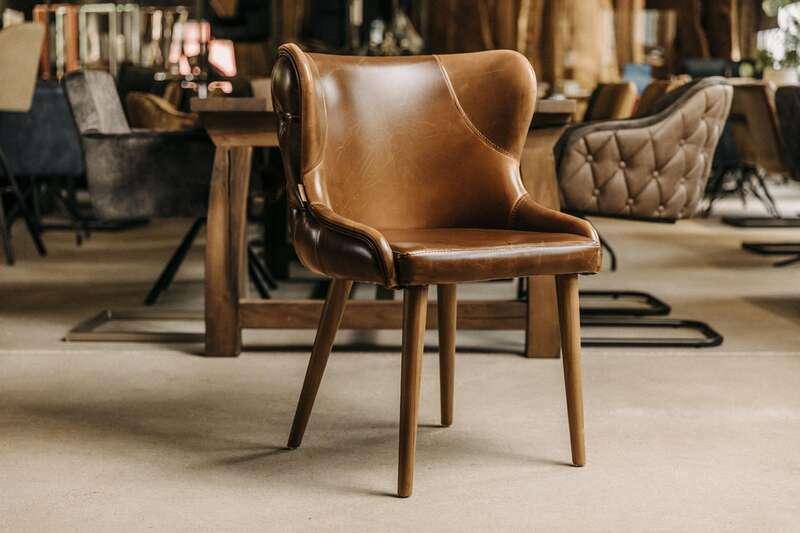 Retro Design Esszimmerstühle mit Armlehne Lord - Brandy...
