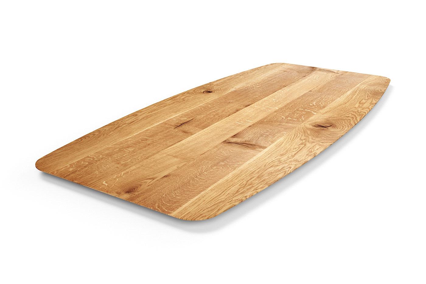 Tischplatte Tonnenform Eiche mit Schweizer Kante