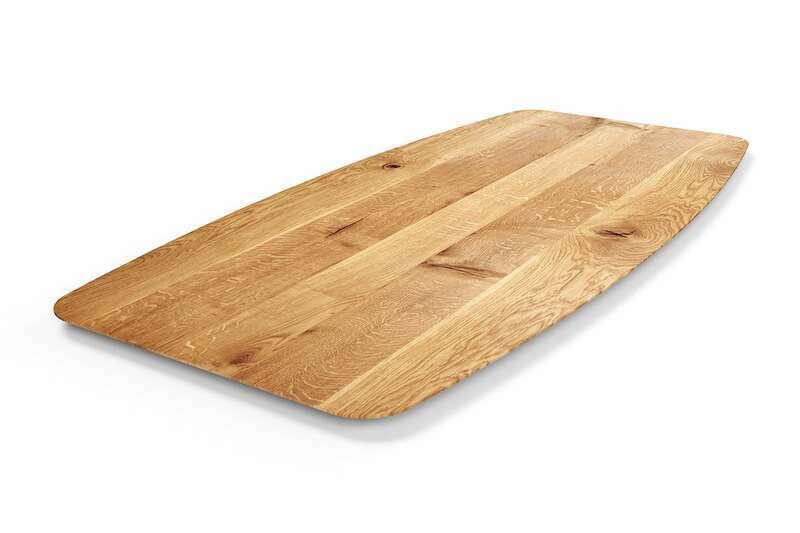 Schweizer Kante Tischplatte Bootsform Eiche
