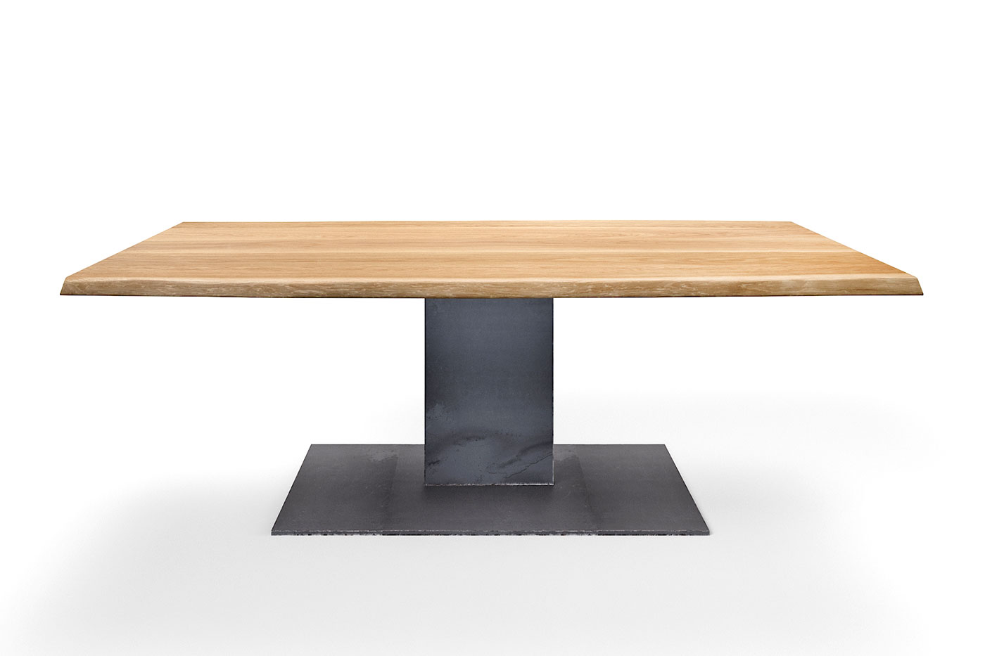 Mittelfuß Tisch Eiche mit Baumkante