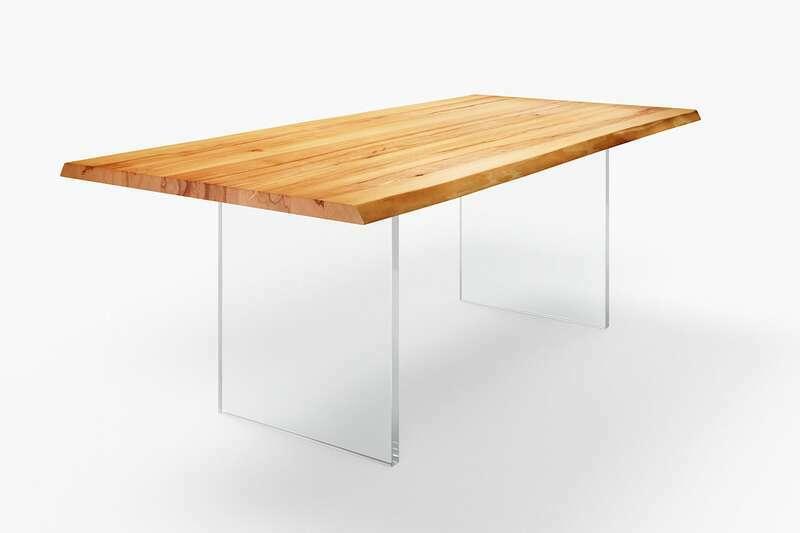 Baumkanten Esstisch mit Glaswangen
