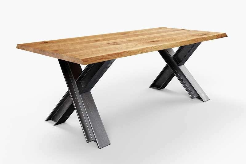 Wildeiche Esstisch mit Baumkante Industriedesign