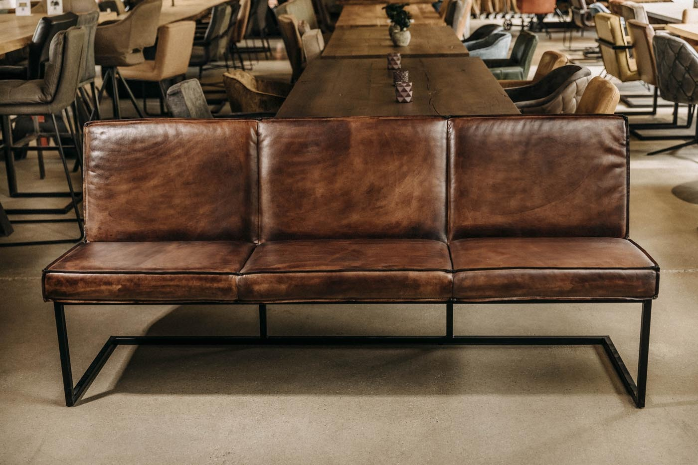 Sitzbank aus echtem Büffelleder Ausstellungsstück