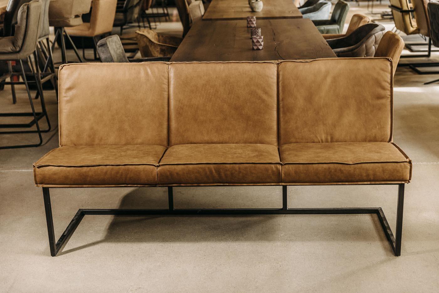 Moderne Büffelleder Sitzbank Cognac Ausstellungsstück