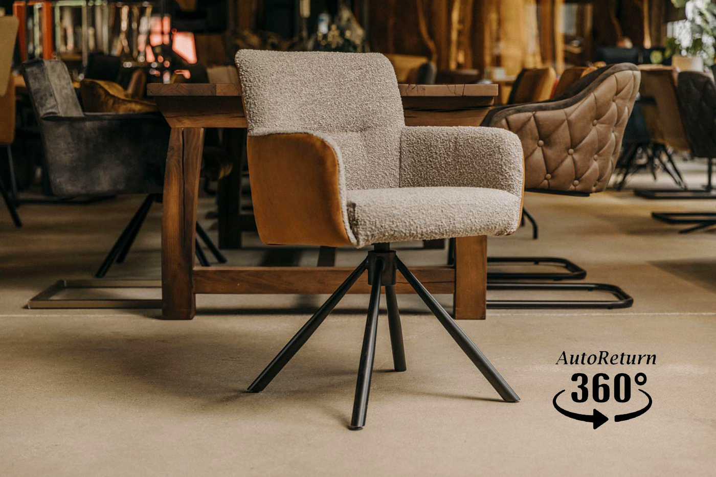 Gepolsterter Stuhl mit Lederrücken Ben 1