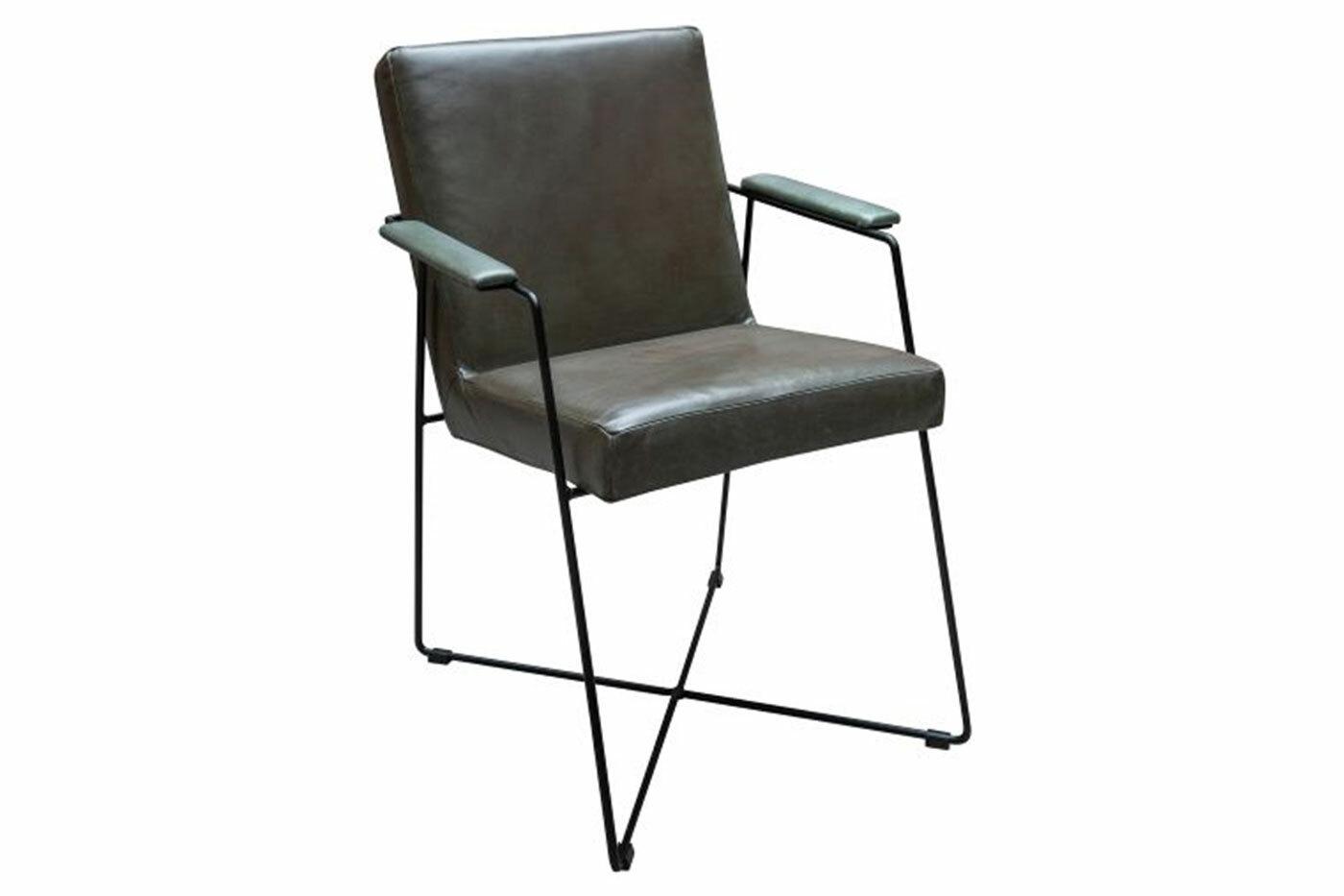 Küchenstuhl modern aus echtem Leder und Stahl