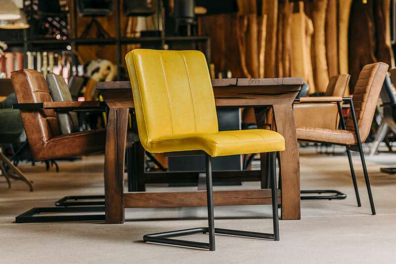 Klassischer Leder Esszimmerstuhl Buffalo Gelb