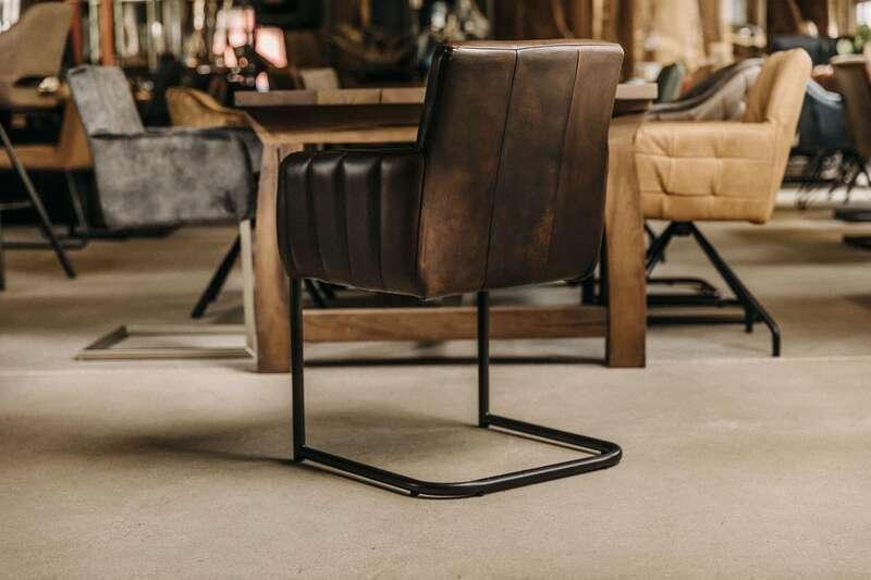 Leder Freischwinger Stuhl klassisch Modell Noah
