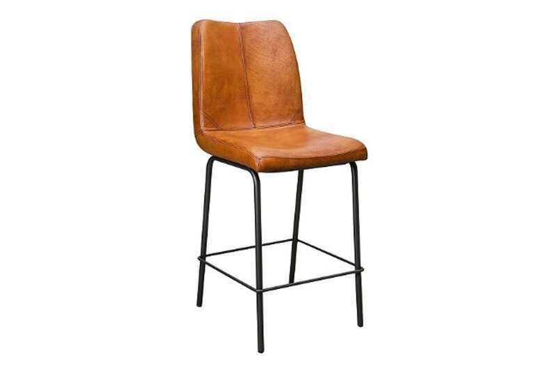 Barhocker mit Sitzschale Echtleder