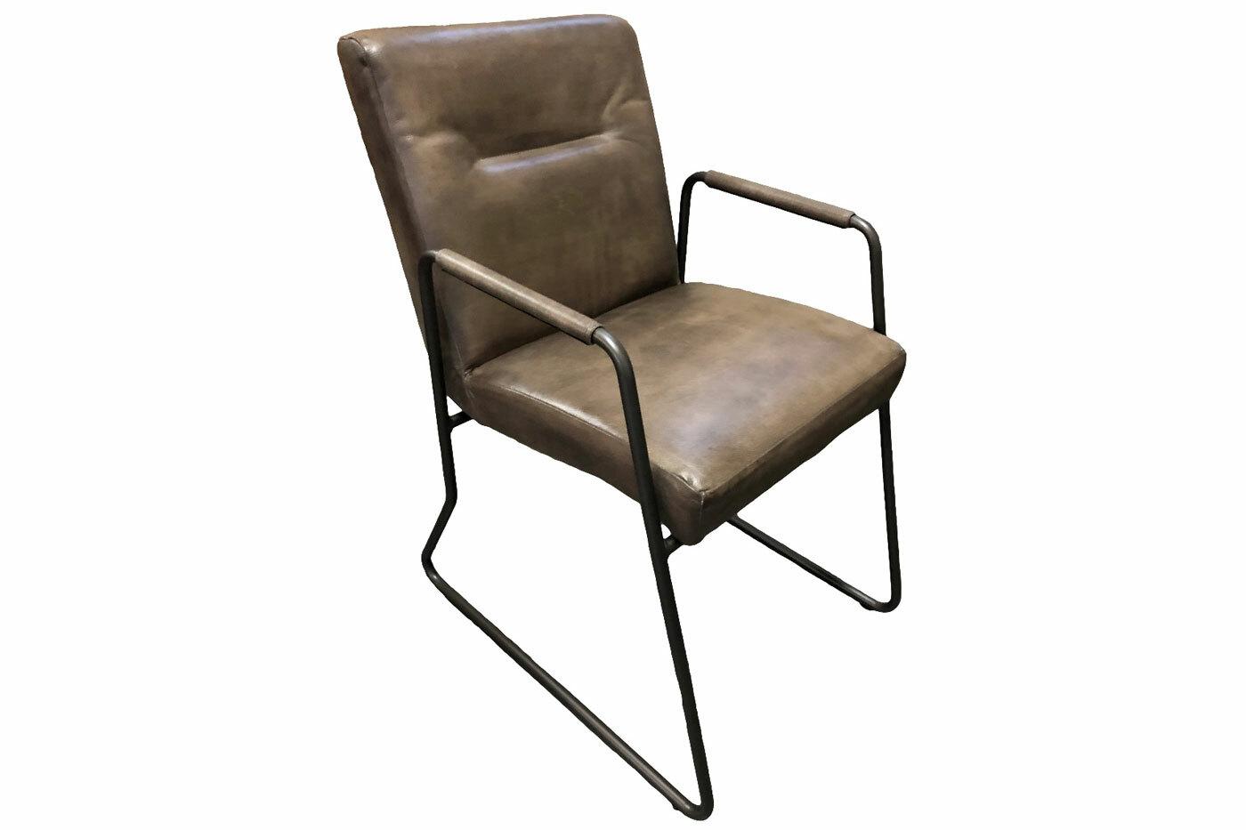 Lederstuhl mit Armlehne minimalistisch