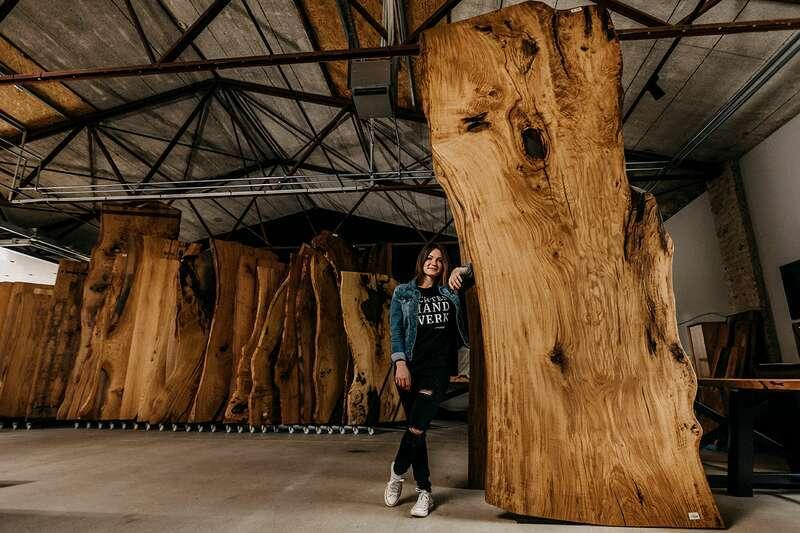 Baum Tischplatte massiv Eiche