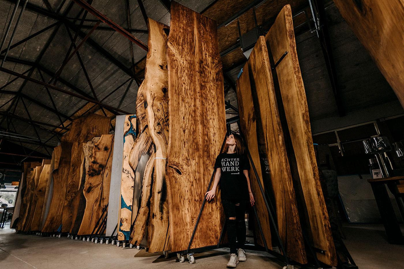 Baumkanten Massivholzplatte Kastanie Twin