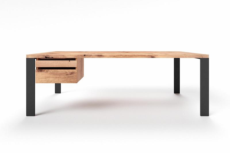 Schreibtisch Holz massiv Alte Eiche mit Stahlfüßen Hartok
