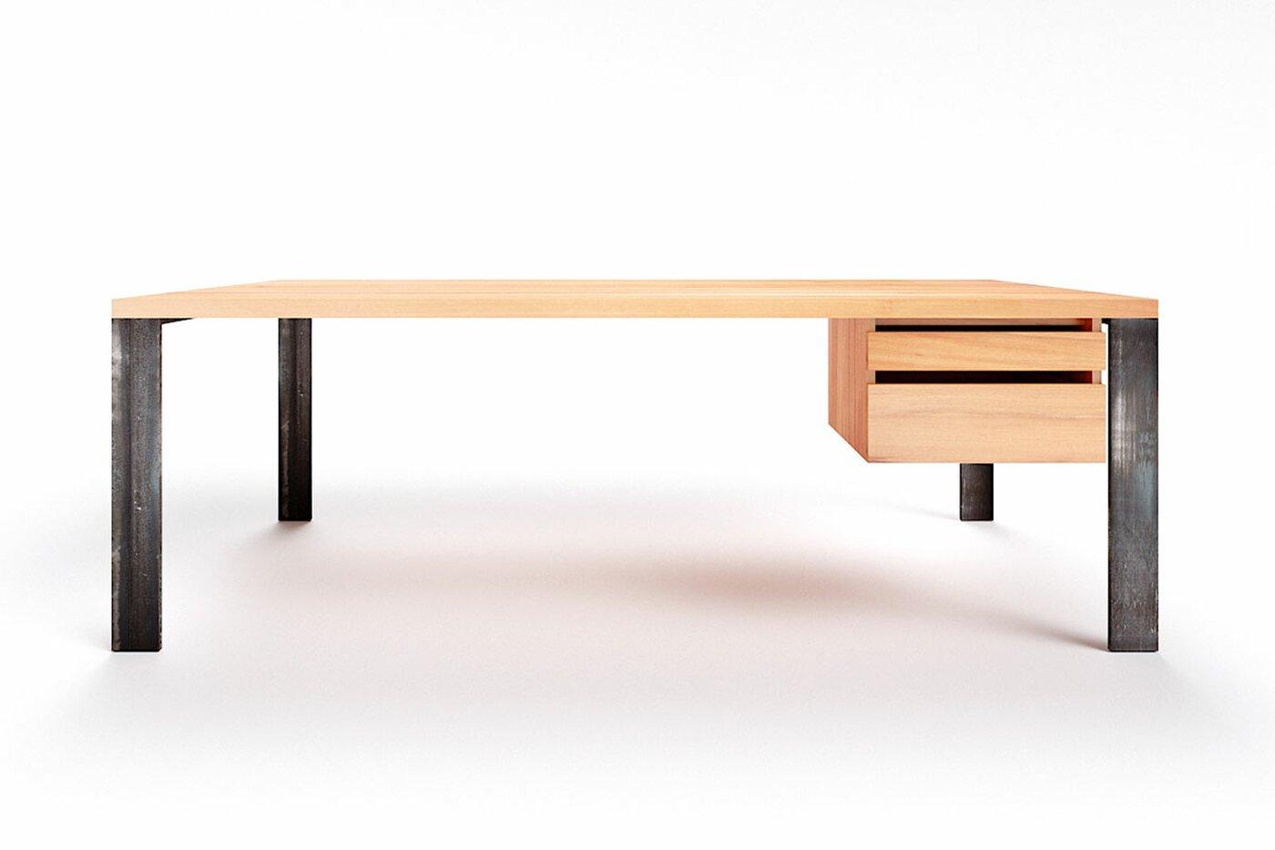 Schreibtisch mit Schubladen Hartok Wildbuche