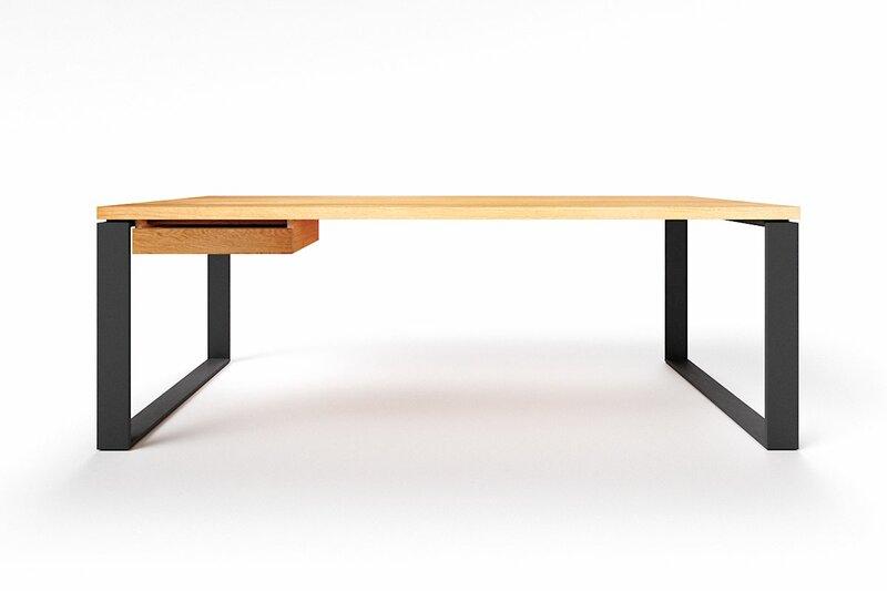 Chef Schreibtisch modern massive Eiche astfrei Horik