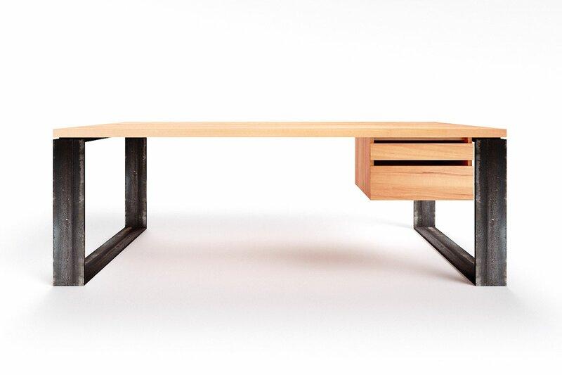 Schreibtisch Naturholz Wildbuche nach Maß Horik