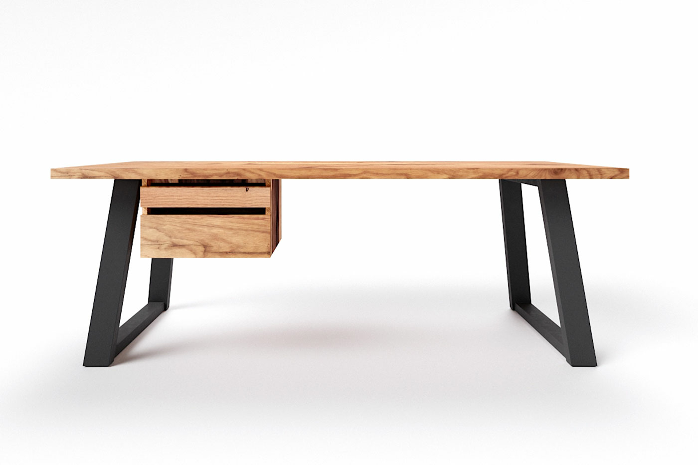 Schreibtisch Balkeneiche mit Kufen Metall Larvik