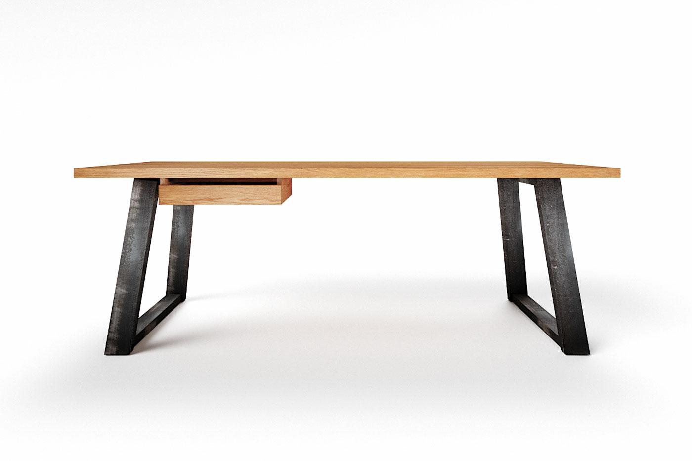 Schreibtisch Eiche mit Tischkufen aus Stahl Larvik astfrei