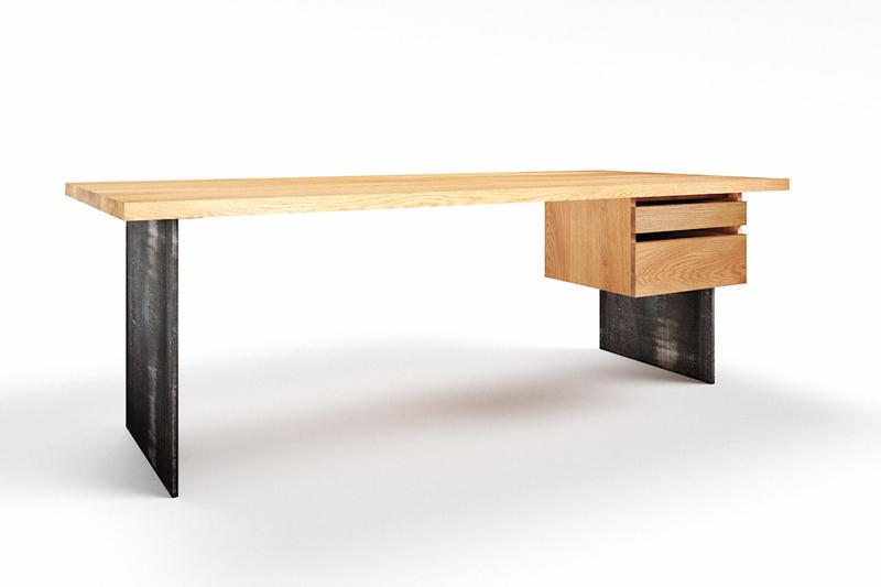 Eiche Schreibtisch massiv mit Metall Wangen Norvik