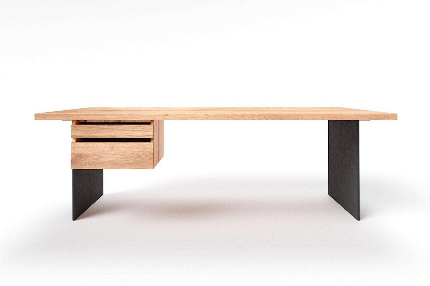 Schreibtisch Wildeiche mit Stahl Tischwangen Norvik