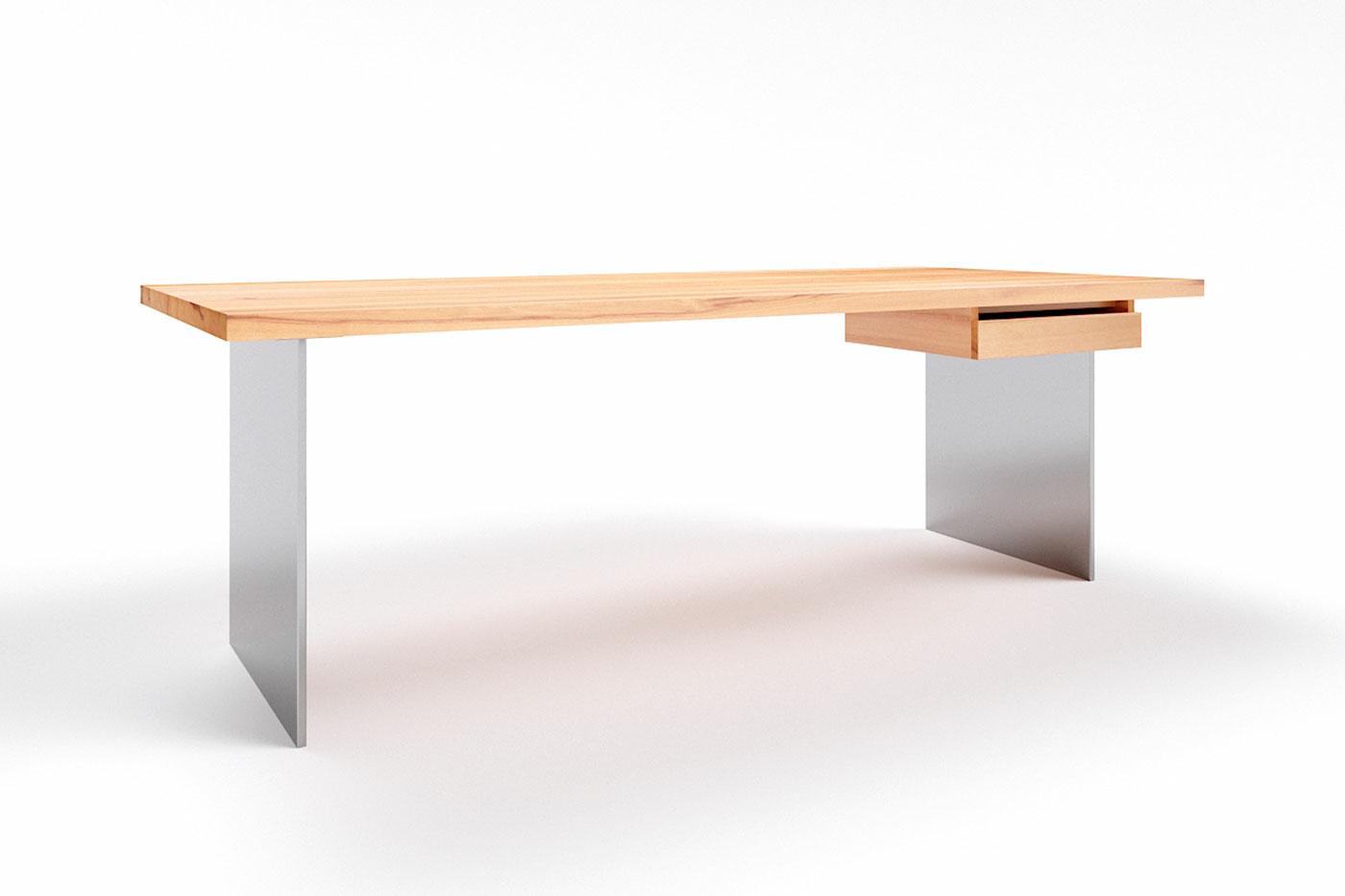 Stahlwangen Schreibtisch nach Maß Kernbuche Norvik