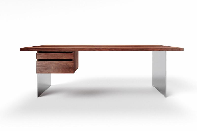 Massivholz Schreibtisch Nussbaum mit Stahlwangen Norvik