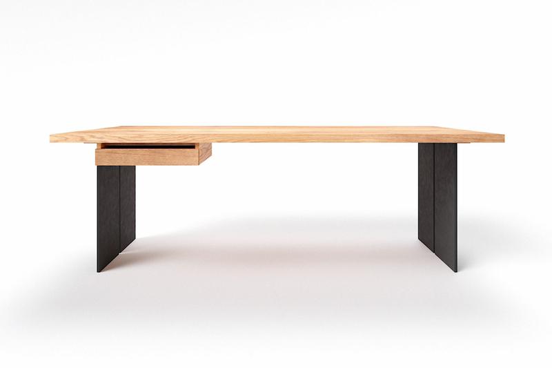 Raik Schreibtisch Eiche mit Stahl Tischwangen