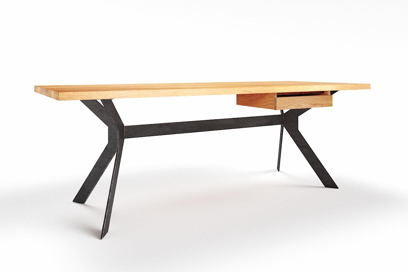 Moderner Schreibtisch Eiche massiv astfrei Slimo