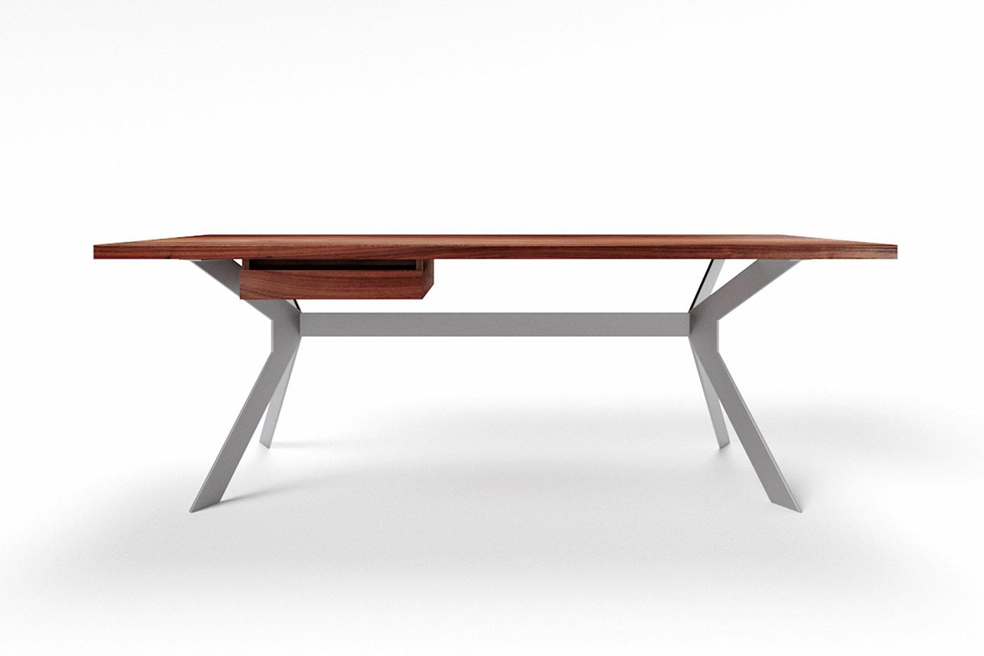 Nussbaum Schreibtisch massiv Slimo mit Stahlgestell