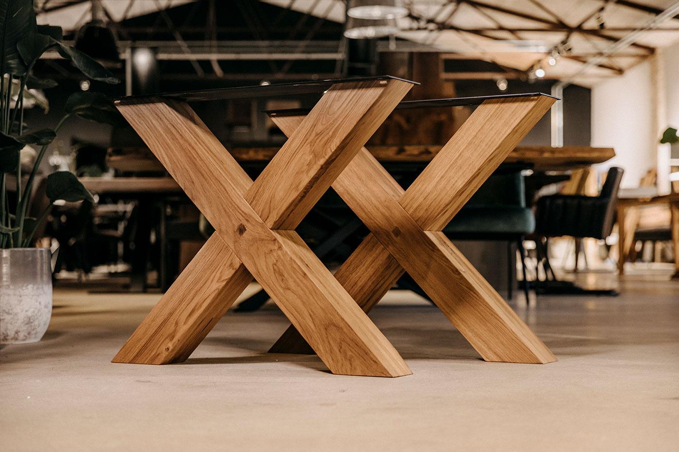 Holzkreuz Tischbeine Nelson Eiche massiv (2er Set)