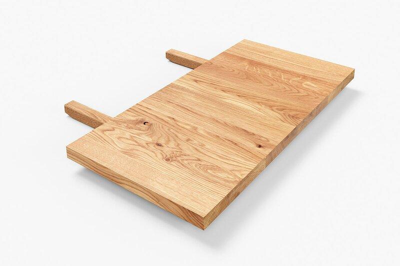 Tischverlängerung Ansteckplatte Eiche mit Astanteil