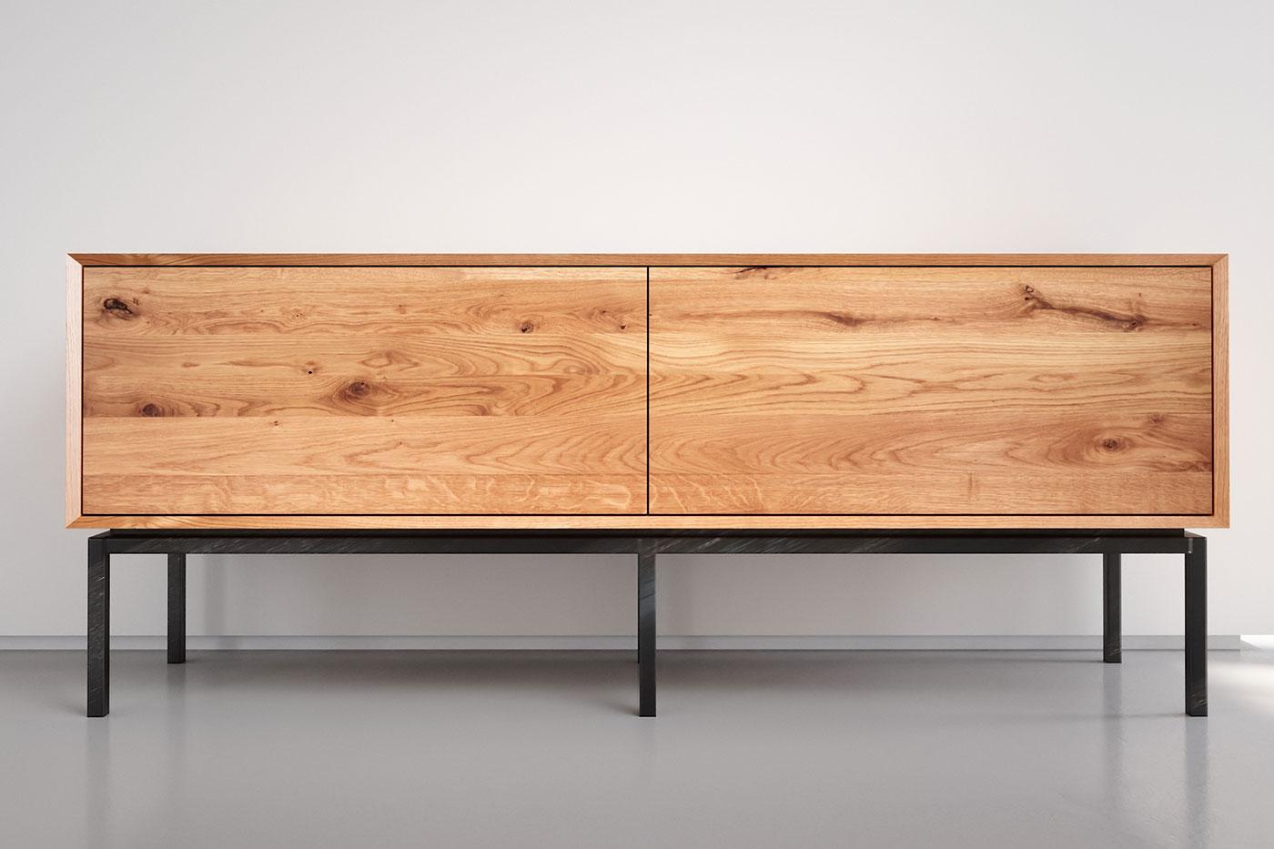 Modernes Eiche Lowboard mit 2 Schubladen