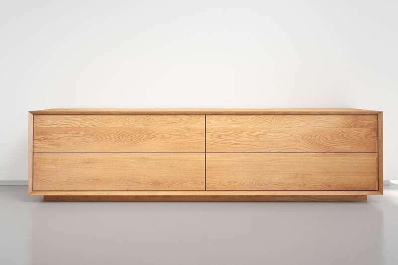 Lowboard Eiche massiv nach Maß mit 4 Schubladen