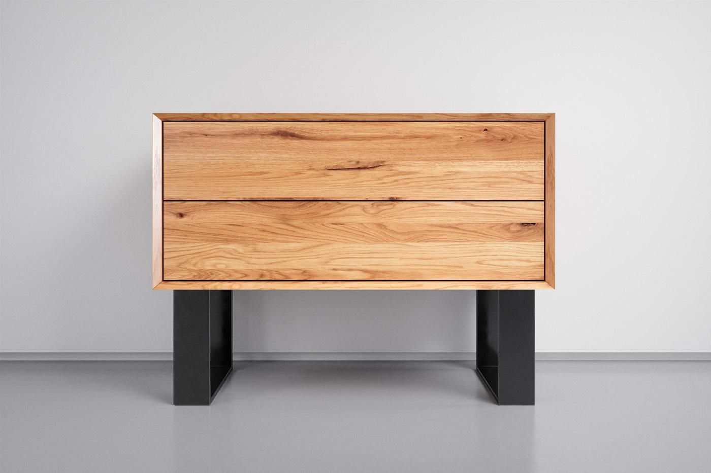Holz Nachttisch Industrial Stahlgestell