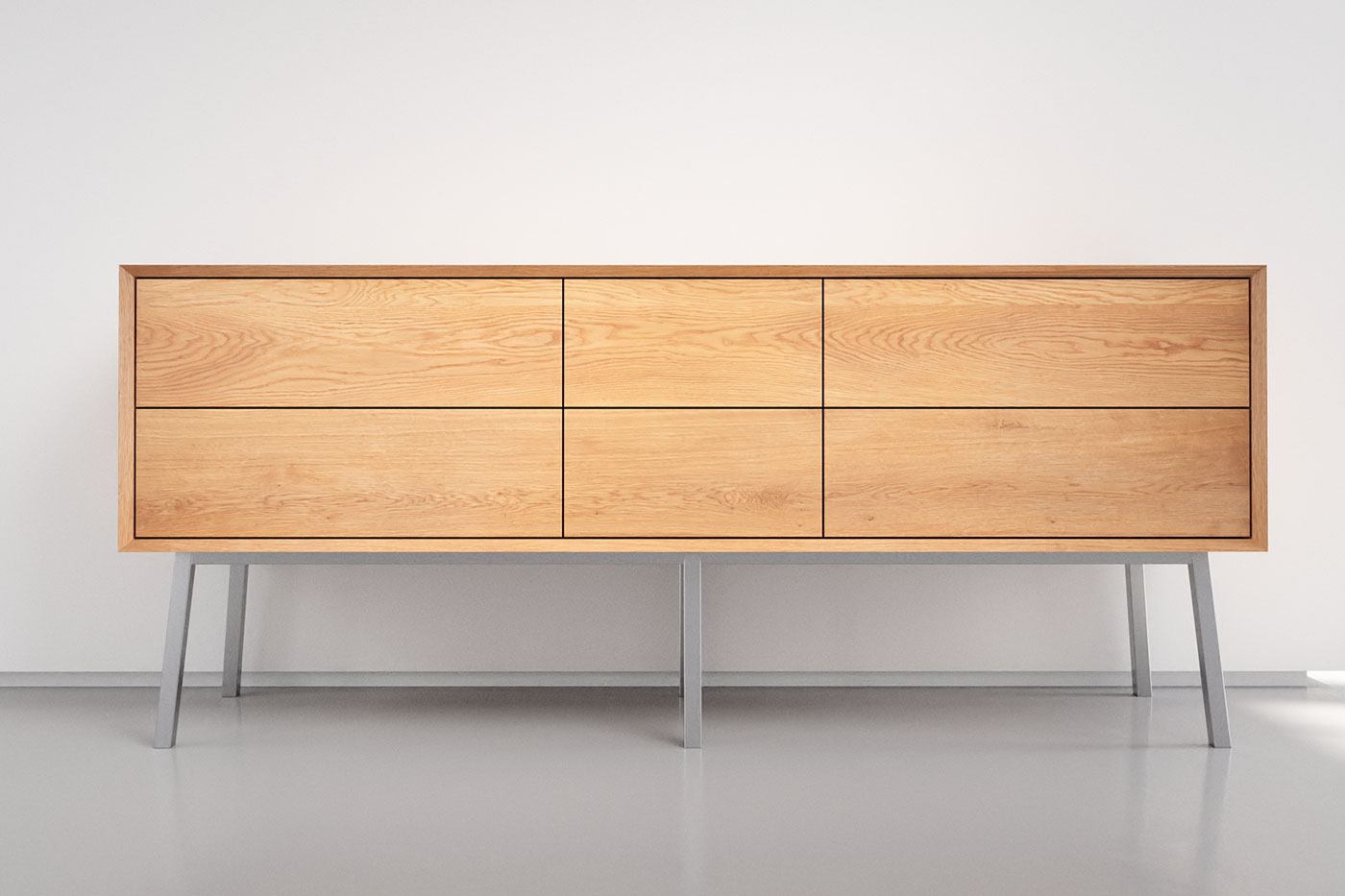 Eiche Sideboard modern 6 Schubladen