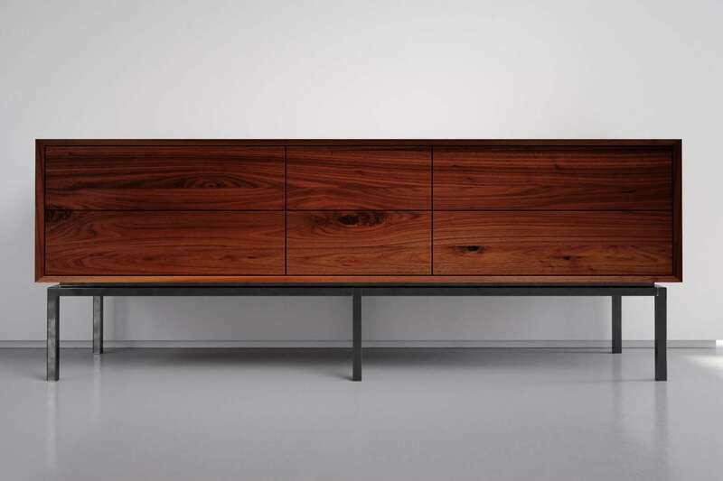 Nussbaum Sideboard modern 6 Schubladen