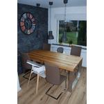 Kundenbild 5 Kufenesstisch Elva 6cm Eiche und polierte Edelstahlkufen