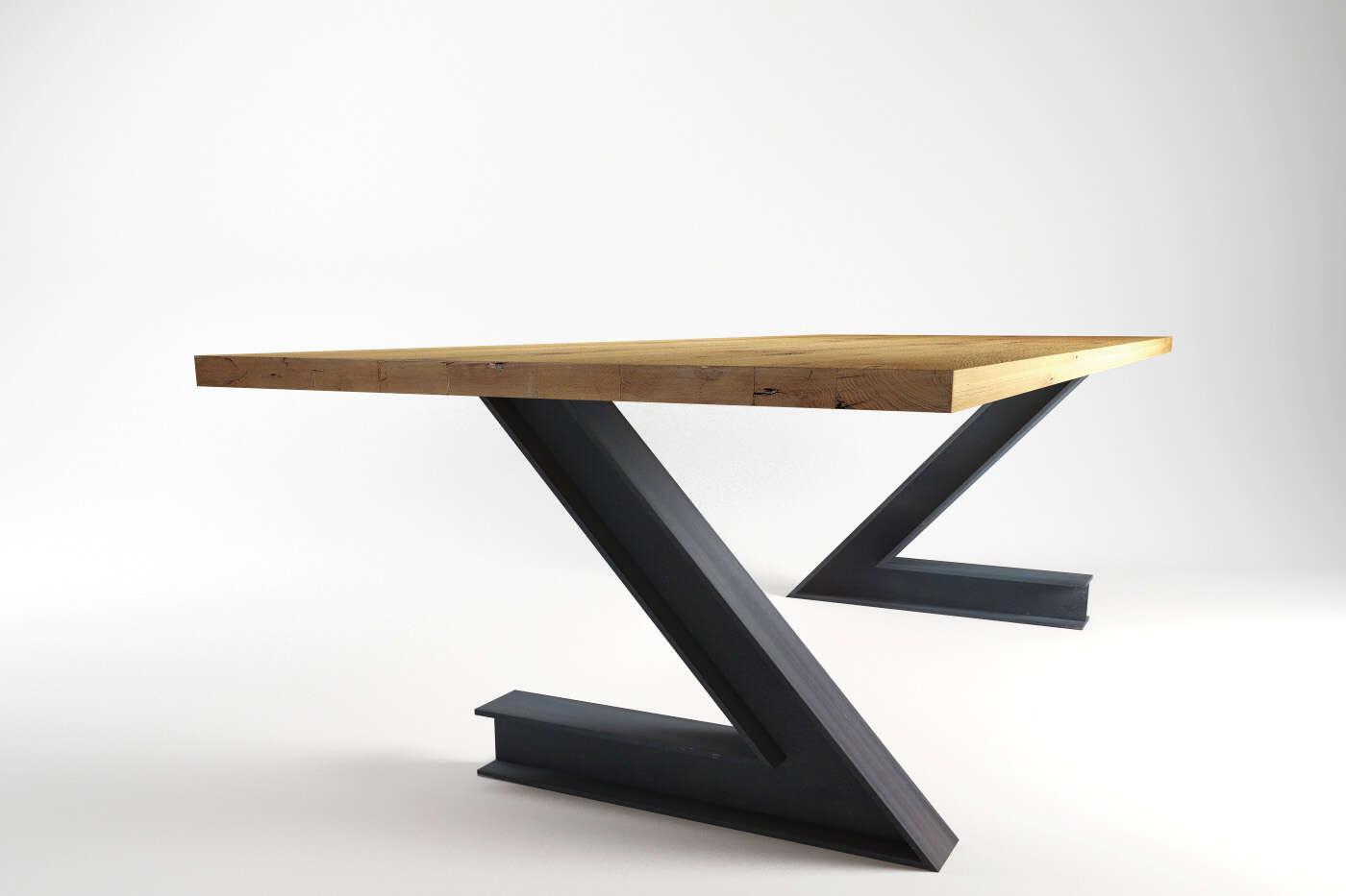 massiver industriedesign esstisch in eiche und stahl. Black Bedroom Furniture Sets. Home Design Ideas