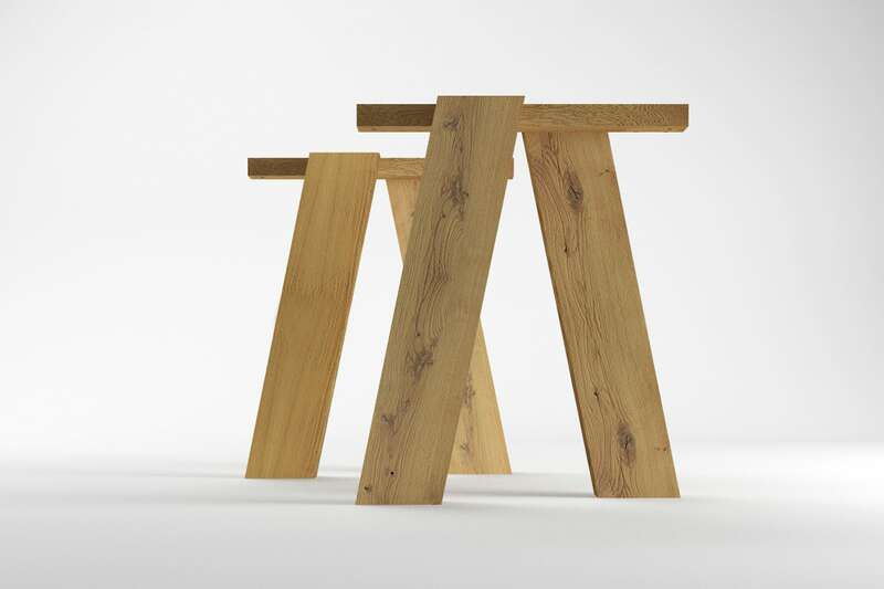 Tischgestell nach Maß in Holz und Stahl  Wohnsektion -> Couchtisch Holz Nach Maß