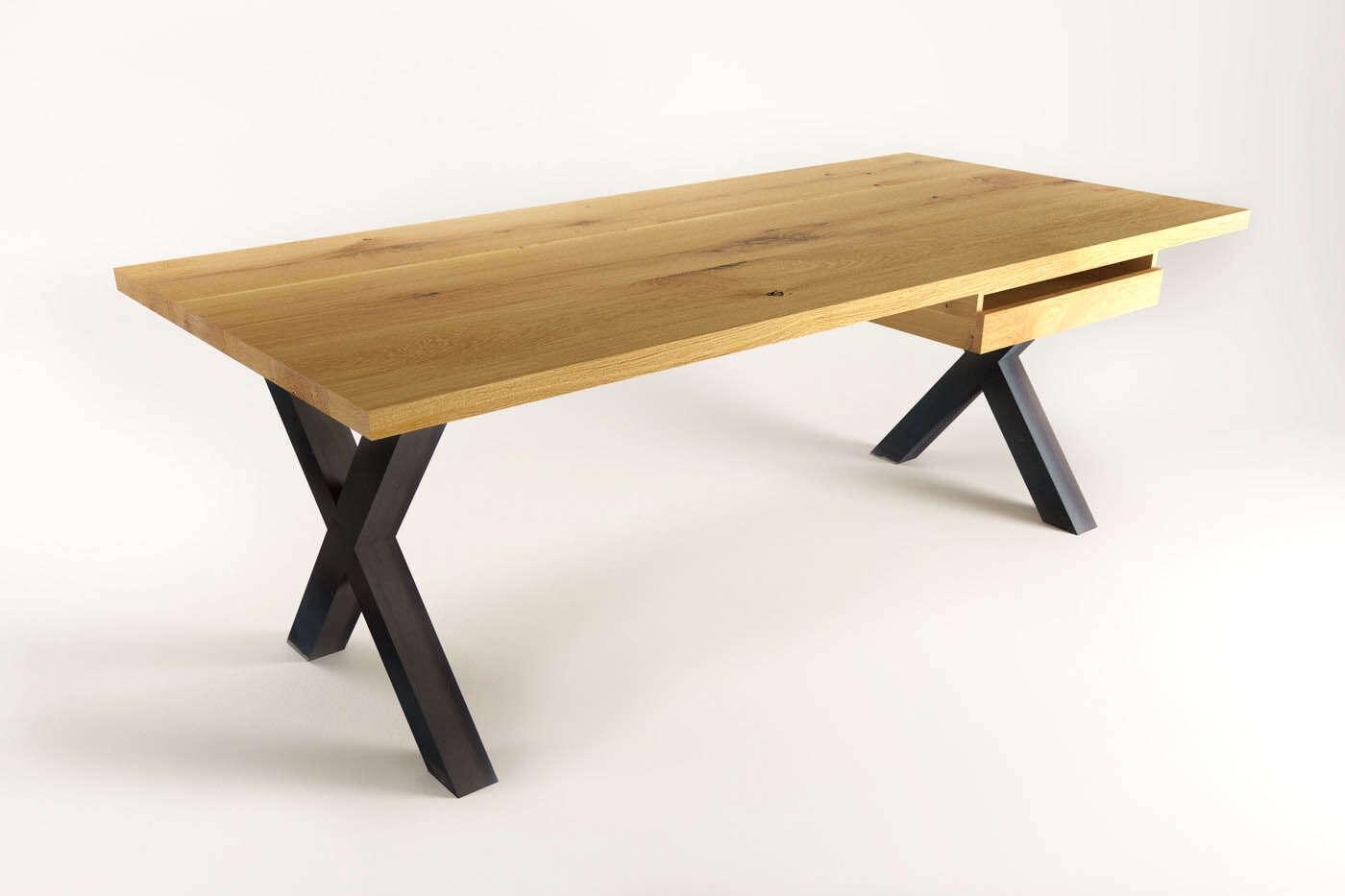 Moderner massivholz schreitisch tara eiche for Schreibtisch massiv eiche