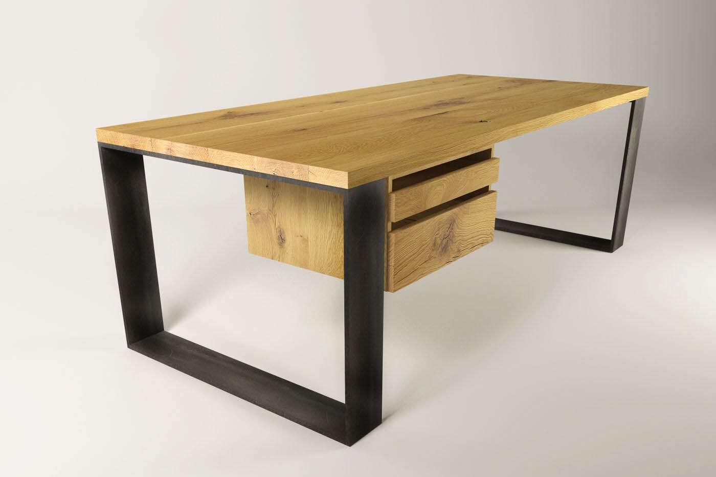 Stahlkufen Schreibtisch Horten 15 Eiche