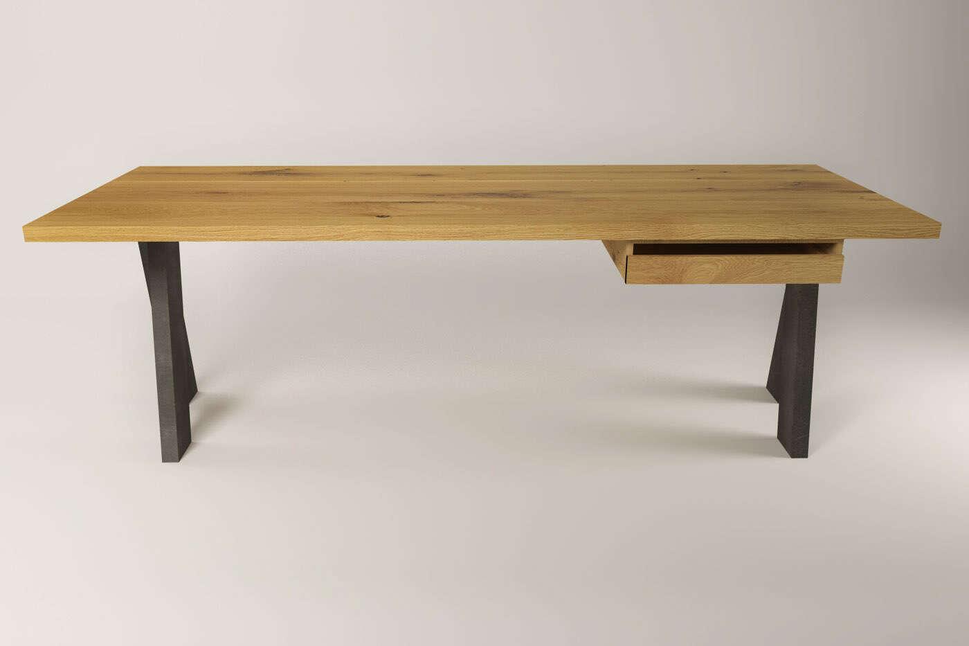 moderner schreibtisch kulajan eiche und stahl. Black Bedroom Furniture Sets. Home Design Ideas