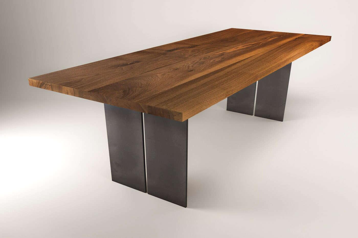 Nussbaum massivholztisch raik industrial for Design massivholztisch