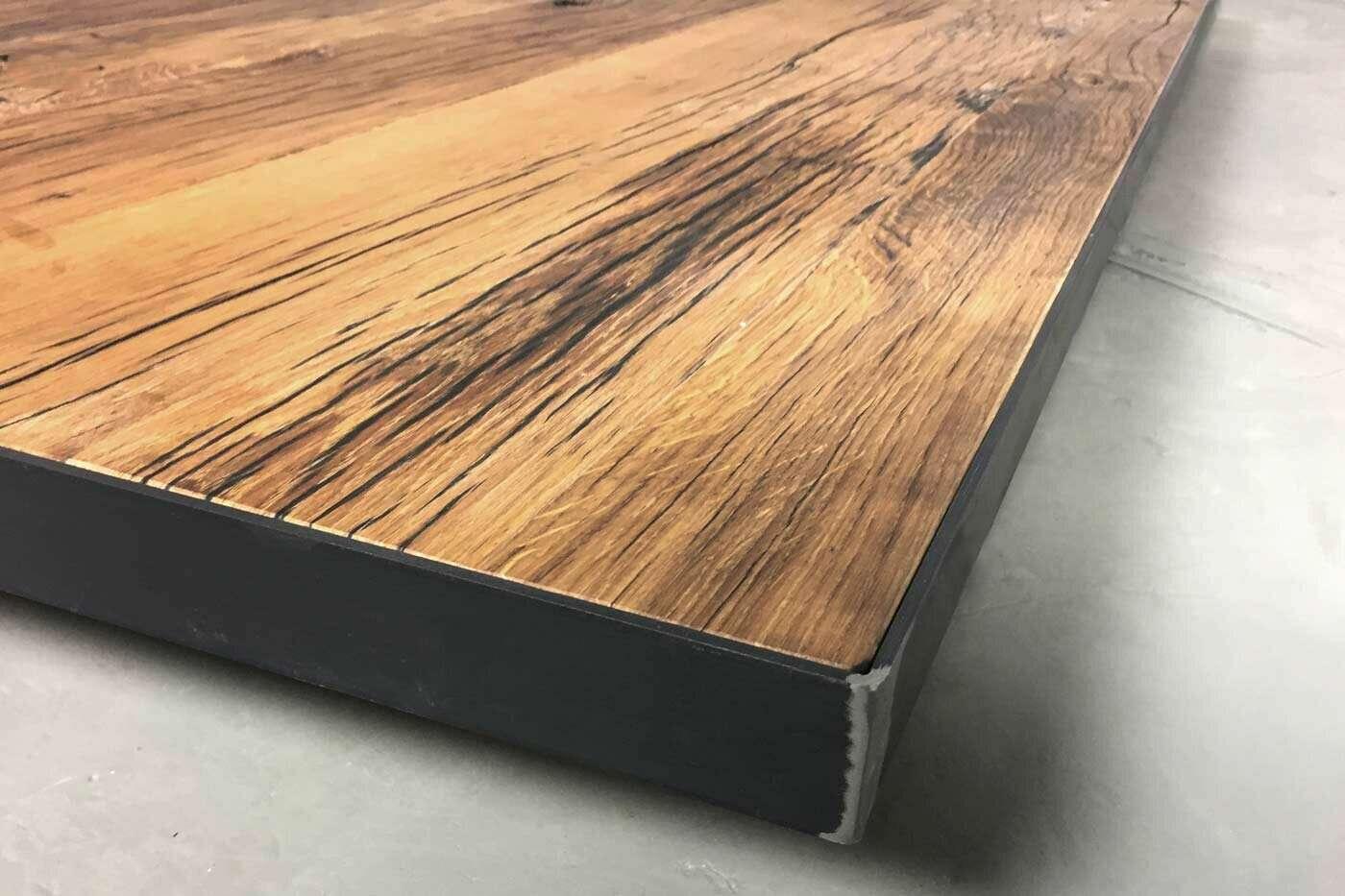 Tischplatte Eiche Altholz Ummantelt Auf Mass Wohnsektion