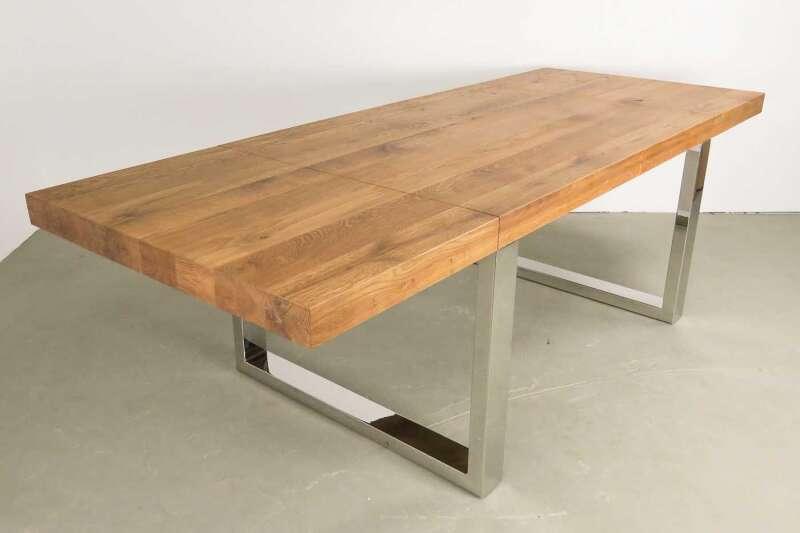 Kufenesstisch Elva 6cm Eiche mit Chromkufen