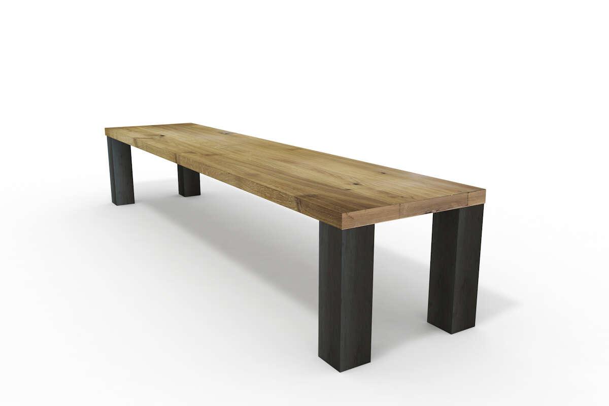 Rustikale Holzbank Eiche mit Metallgestell nach Maß