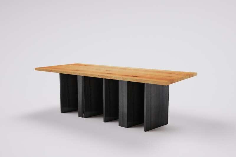 Holztisch Buche massiv mit Metallgestell
