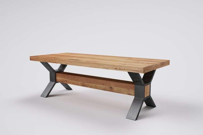 Holztisch Altholz Eiche nach Mass Freya mit Gestell