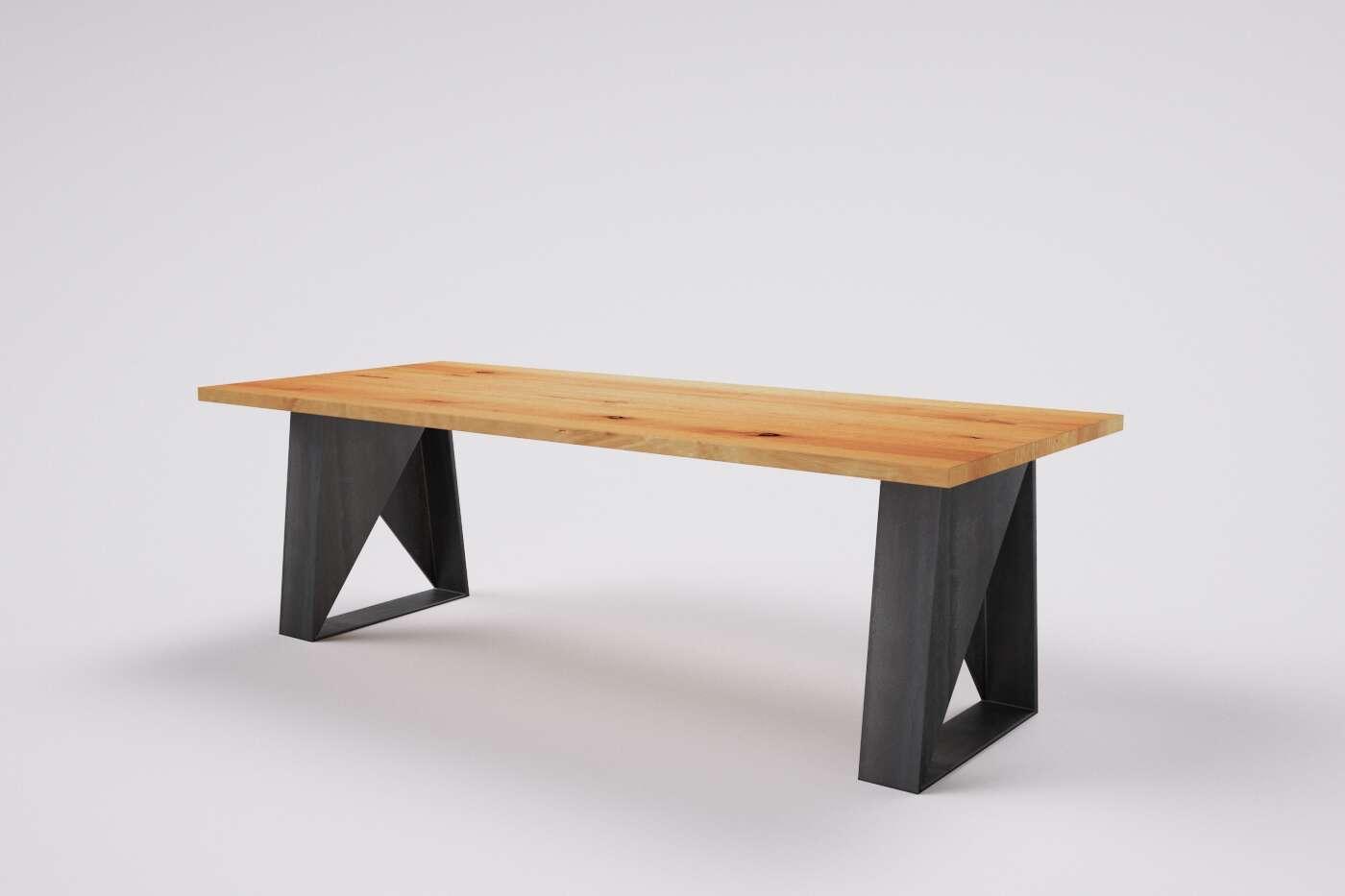 Buche Holztisch auf Mass Janosh mit Metallgestell