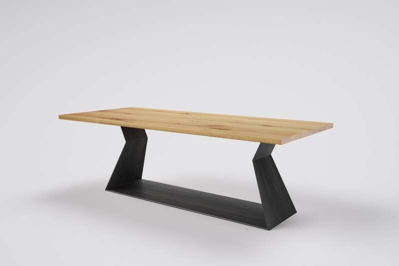 Massivholz Tisch Eiche auf Maß Haaron mit Kufengestell